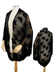 LEAF PATTERN SHEER SHRUG - 100% POLYESTER