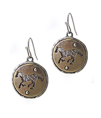 ANTIQUE GOLD HORSE THEME DISK DROP EARRING