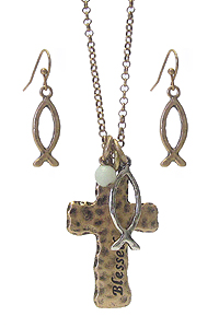 RELIGIOUS INSPIRATION CROSS NECKLACE SET - BLESSED