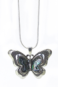 ABALONE STONE BUTTERFLY PENDANT NECKLACE