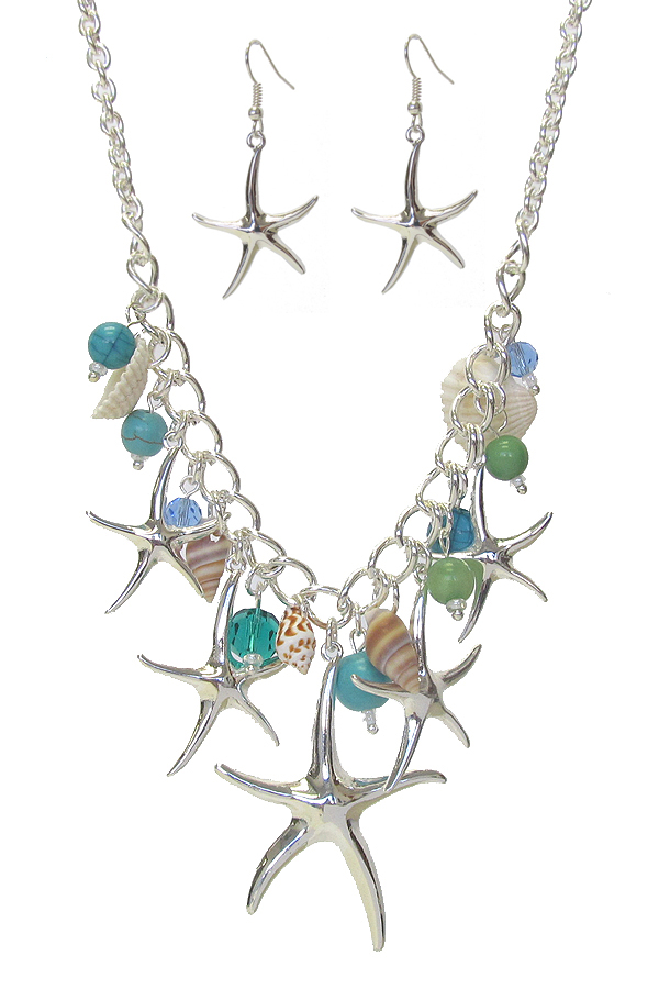 MULTI STARFISH AND SHELL CHARM NECKLACE SET