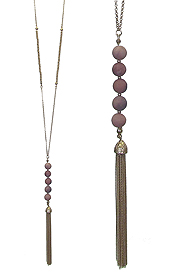 MULTI SEMI PRECIOUS STONE BALL AND FINE CHAIN TASSEL LONG NECKLACE - JASPER