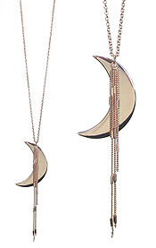 CRESCENT MOON AND CHAIN TASSEL LONG NECKLACE