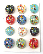 ASSORT COLOR MURANO STYLE GLASS RINGS -12 PC DOZEN PACK