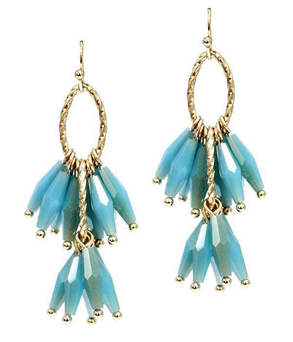 MULTI FACET STONE DANGLE DROP EARRING