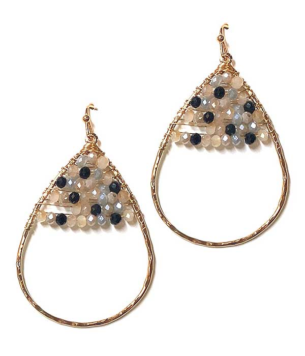 MULTI GLASS BEAD WIRE TEARDROP EARRING