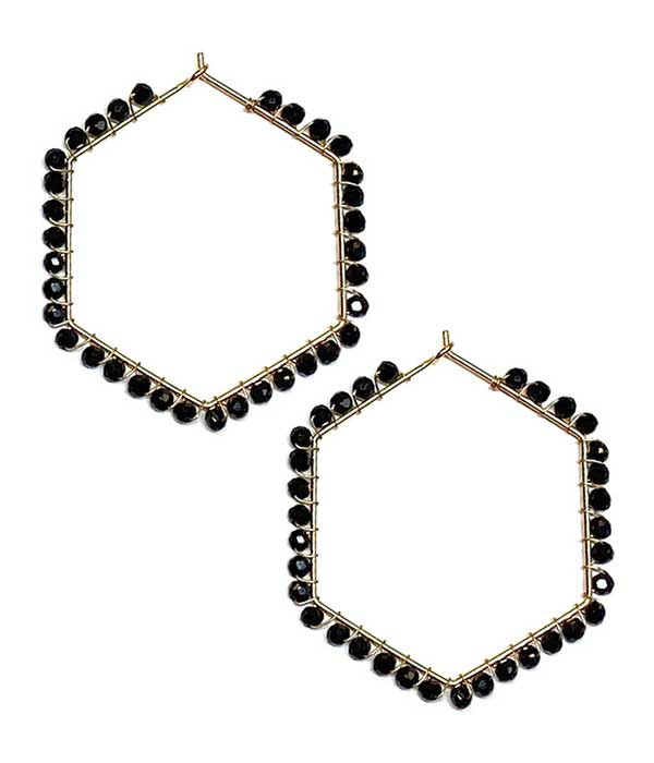 MULTI GLASS BEAD WIRE HEXGON HOOP EARRING