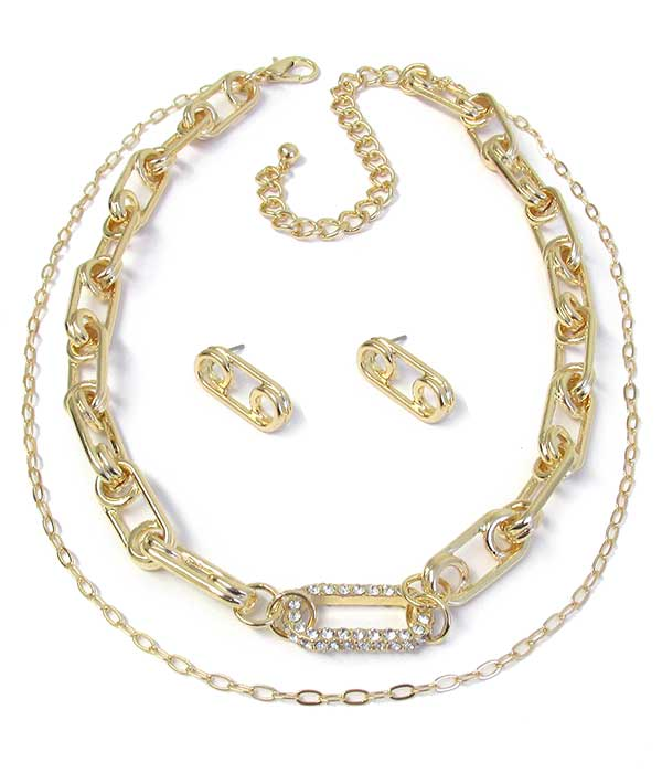 DOUBLE LAYER CHUNKY CHAIN NECKLACE SET