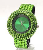 FLAT CRYSTAL ROUND FACE AND MULTI SQUARE CRYSTAL WATCH