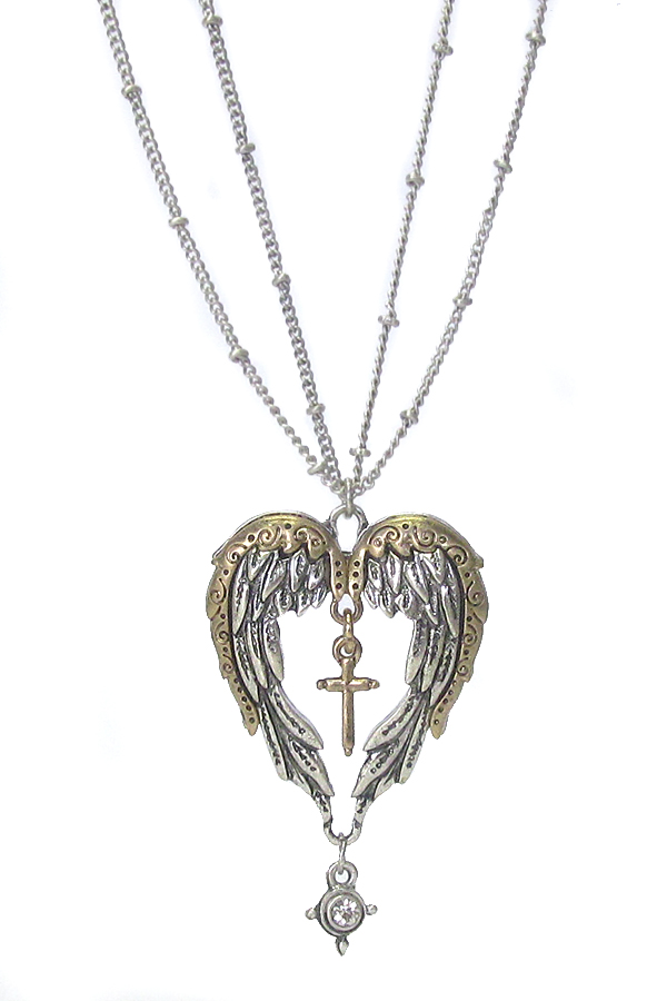 ANGEL WING PENDANT DOUBLE LAYER CHAIN NECKLACE