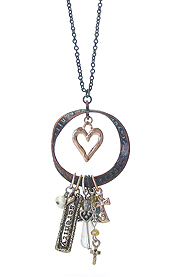 RELIGIOUS INSPIRATION MESSAGE PENDANT LONG CHAIN NECKLACE - SERENITY PRAYER