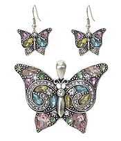 CRYSTAL BUTTERFLY PENDANT AND EARRING SET