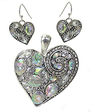CRYSTAL HEART PENDANT AND EARRING SET