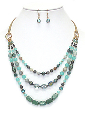 GENUINE STONE AND GLASS BEAD MIX 3 LAYER NECKLACE SET