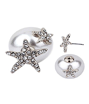 CRYSTAL STARFISH AND PEARL DOUBLE SIDED FRONT AND BACK EARRINGS