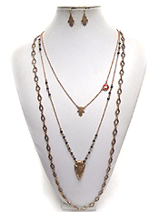 BOHEMIAN STYLE 3 LAYER ARROWHEAD METAL NECKLACE SET
