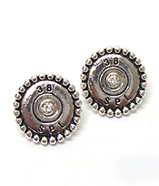 CRYSTAL CENTER BULLET STUD EARRINGS