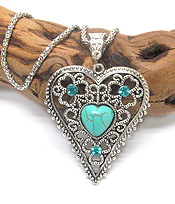 VINTAGE TIBETAN SILVER FILIGREE TURQUOISE HEART NECKLACE
