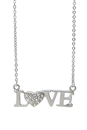 WHITEGOLD PLATING CRYSTAL STUD HEART AND LOVE CHAIN TIED NECKLACE