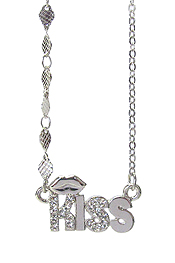 WHITEGOLD PLATING AND CRYSTAL DECO LIP AND KISS PENDANT NECKLACE