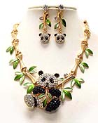 LUXURIOUS AUSTRIAN CRYSTAL PANDA BEAR AND EPOXY BAMBOO DECO PARTY NECKLACE EARRING SET