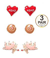 VALENTINE HEART THEME 3 PAIR EARRING SET