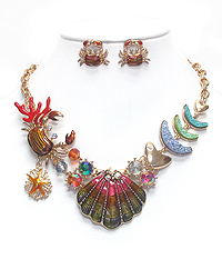 SEALIFE THEME CHUNKY STATEMENT NECKLACE SET