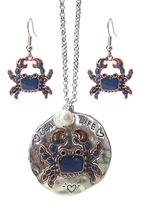 SEALIFE THEME RUSTIC METAL PENDANT LONG NECKLACE SET - BEACH LIFE