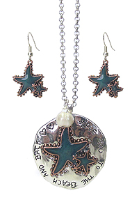 SEALIFE THEME RUSTIC METAL PENDANT LONG NECKLACE SET - LOVE YOU TO THE BEACH AND BACK