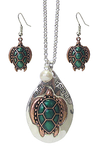 SEALIFE THEME RUSTIC METAL PENDANT LONG NECKLACE SET - LIFE IS GOOD
