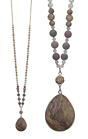 SEMI PRECIOUS STONE AND WOOD BALL LONG NECKLACE