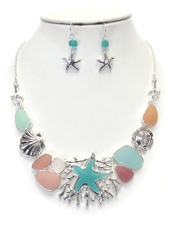 SEALIFE THEME AND SEA GLASS NECKLACE SET