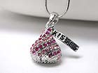 WHITEGOLD PLATING CRYSTAL STUD CHOCOLATE PENDANT NECKLACE