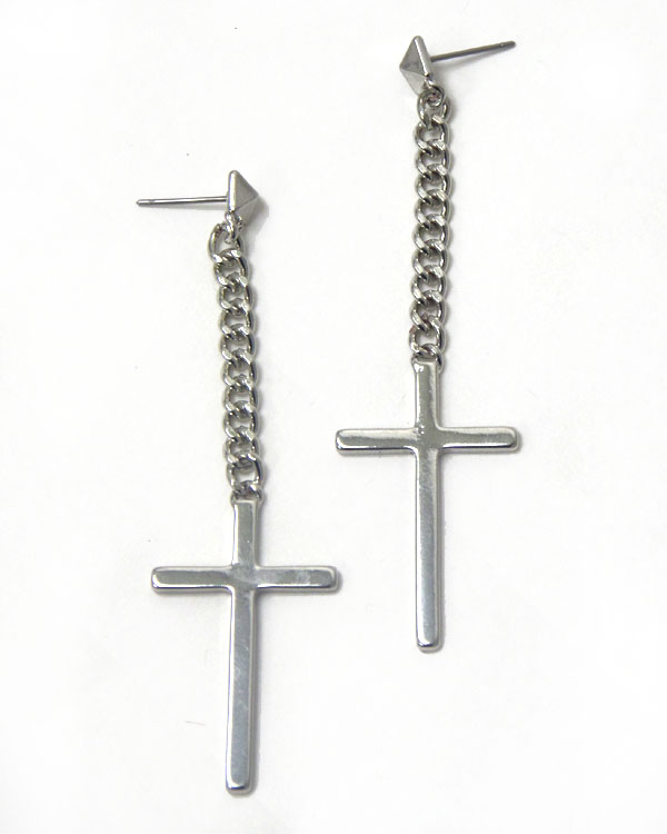 METAL CROSS AND CHAIN DROP EARRING