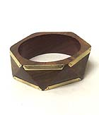 METAL PLATE EDGE WOODEN BANGLE BRACELET