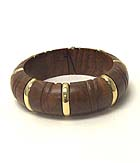 METAL STRIPE ACCENT WOODEN BANGLE BRACELET