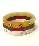 FORMICA AND WOOD BANGLE BRACELET SET OF 3