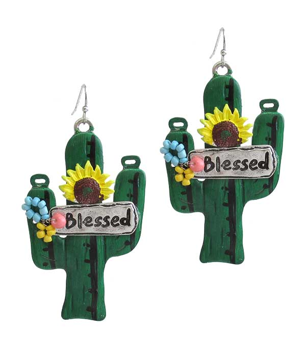 RELIGIOUS INSPIRATION CACTUS EARRING - BLESSED