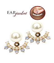 PEARL AND SPIKY STONE EAR JACKET EARRING