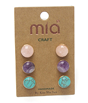 MIXED SEMI PRECIOUS STONE 3 PAIR STUD EARRING SET