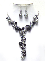 MIXED PEARL Y DROP NECKLACE SET