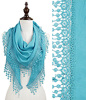 LACE TRIM TRIANGLE SCARF - 80% COTTON 20% POLYESTER