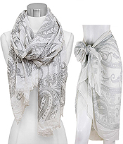 ANTIQUE PAISLEY PATTERN AND FRAYED EDGE SCARF - 100% VISCOSE