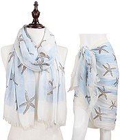 STARFISH AND WAVE PRINT OBLONG SCARF - 100% VISCOSE