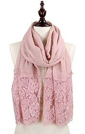 FLORAL LACE OBLONG SCARF - 30% COTTON 70% VISCOSE