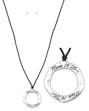 RELIGIOUS INSPIRATION ORGANIC ROUND PENDANT AND WAX CORD LONG NECKLACE SET - MATT 19:26