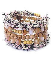 MULTI WOOD AND FACET GLASS BEAD MIX FABRIC COILED BRACELET