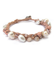 FRESHWATER PEARL AND GLASS BEAD LEATHER BAND BRACELET