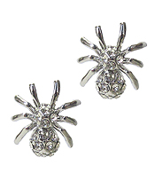 WHITEGOLD PLATING CRYSTAL SPIDER EARRING