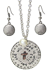 RELIGIOUS INSPIRATION DISK PENDANT NECKLACE SET - GOD IS WITHIN HER.. SHE WILL NOT FALL